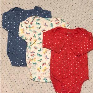 Set of 3 Carters Baby Girl Onesies 6M